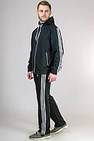Черный спортивный костюм мужской трикотажный с капюшоном Турция