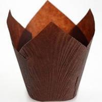 Форма бумажная для кексов и маффинов  «Тюльпан», коричневый