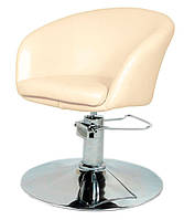Парикмахерское дизайнерское кресло Мурат Р бежевая искусственная кожа поворотное с гидроподъемником