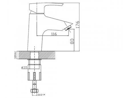Imprese HORAK смеситель для раковины, хром, 40 мм, фото 2