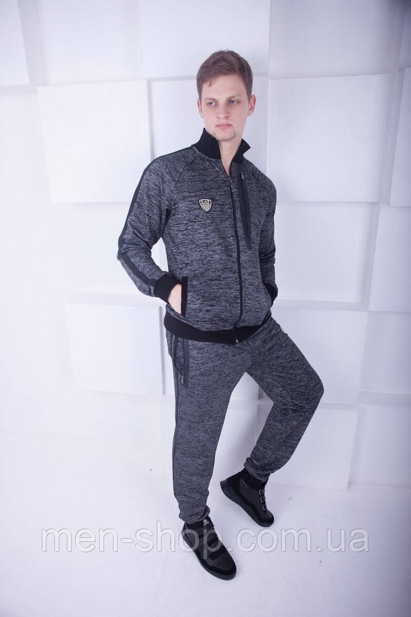 Спортивный костюм в стиле Armani EA7 серый