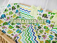 Комплект постельного белья для новорожденного 7 элементов с бортики подушечками одеяло 120х60 см 3482 Зелёный
