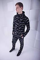Мужской спортивный костюм черный с капюшоном