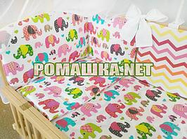 Комплект постельного белья для новорожденного 7 элементов с бортики подушечками одеяло 120х60 см 3482 Малиновы