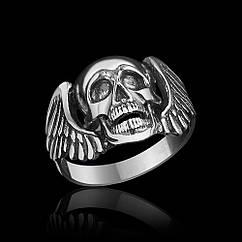 Байкерское кольцо с черепом Падший Ангел