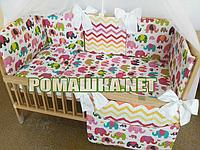 Набор постели в детскую кроватку из 8 предметов бортики подушки балдахин белый 100% хлопок 3482 Малиновый