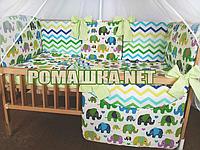 Набор постели в детскую кроватку из 8 предметов бортики подушки балдахин белый 100% хлопок 3482 Зелёный