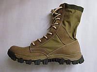 Ботинки, берцы из нубука бежевые с тканевой вставкой