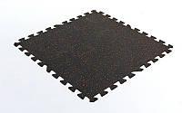 Коврик-пазл под тренажер резиновый 1шт 100x100x0,6см FI-5348-2 (черный)