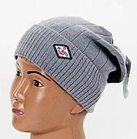 Вязанная шапочка серая для  мальчика