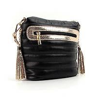 Черная женская сумка маленькая через плечо черная с золотистыми вставками val-20715g bla, фото 1