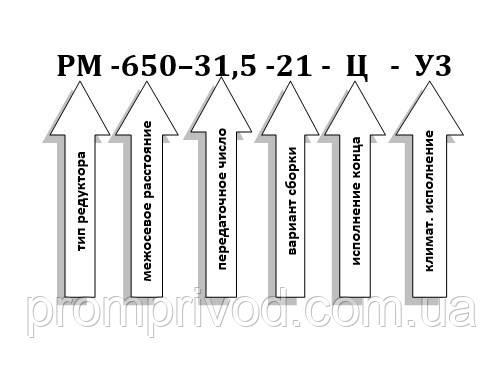 Условное обозначение редуктора РМ-650-31,5