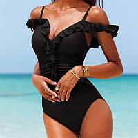 Купальник реплика Victoria's Secret совместный с рюшами красный и черный
