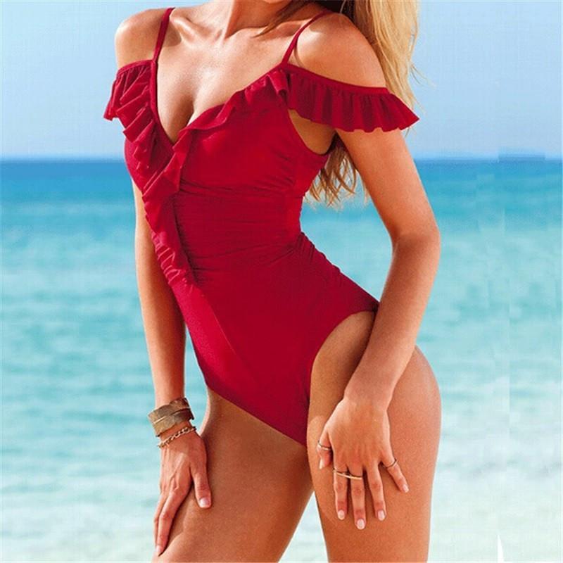 368894ba31099 Купальник реплика Victoria's Secret совместный с рюшами красный и черный