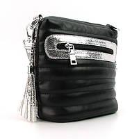 Черная сумочка планшетная с серебристыми вставками