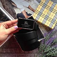 Кожаный ремень Черный пояс BURBERRY брендовый ремень ЧЕРНЫЙ