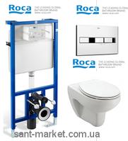 Унитаз подвесной Roca Victoria A34630300S+801392004 + Инсталляция Roca Pro Victoria 89009000V + Кнопка Roca Pro PL2 Dual 890096001
