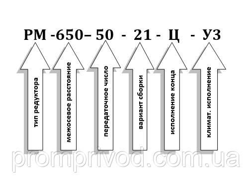Условное обозначение редуктора РМ-650-50
