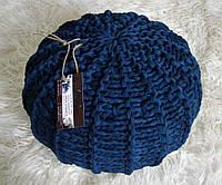 Пуф декоративный бескаркасный вязаный цвет синий меланж