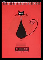 Блокнот А6 Коты 48 л красный, клетка