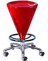 Барный стул-табурет хромированный Коно сиденье красный глянцевый пластик на колесиках