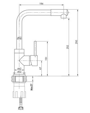 Imprese LOTTA смеситель для кухни, высокий нос, сатин, 35 мм, фото 2