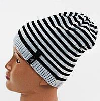 Вязанная однослойная шапка для мальчика
