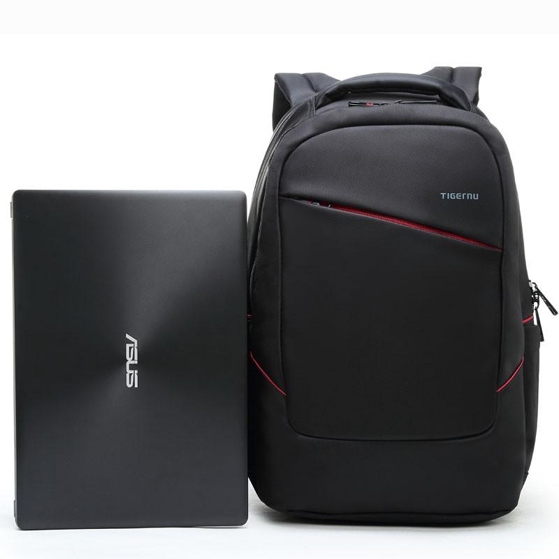 """Рюкзак с ортопедической спинкой для ноутбука до 15.6"""" Тigernu, черный с красным"""