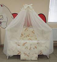 Комплект детского постельного белья в кроватку (бежевый)  Жирафик Gold 9 в 1 (120Х60)