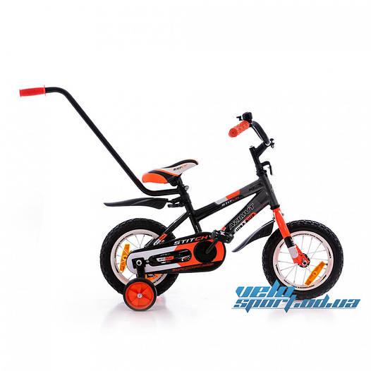 """Детский велосипед Azimut Stitch 12"""" (с родительской ручкой)"""