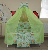 Детское постельное белье в кроватку салатовое Мишка пчелка на луне Gold 9 в 1