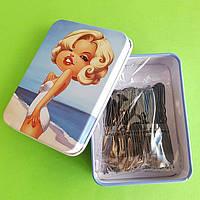 Шпильки для волос черные 6 см, 100 шт
