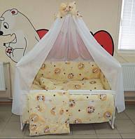 Детское постельное белье в кроватку бежевое Зайчик пуговица Gold 9 в 1