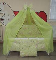 Детское постельное белье в кроватку салатовое Мишка пчелка на облаке Gold 9 в 1 120х60см