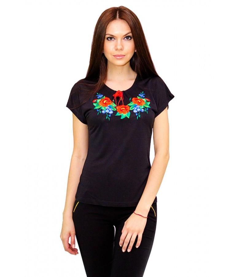 Женская футболка с вышивкой. Стильная женская футболка. Вышиванка женская.  Женские вышиванки. 79f981de3d4e5