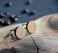 Запонки из дерева круглые