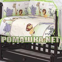 Защита (мягкие бортики, охранка, бампер) в детскую кроватку для новорожденного Мадагаскар 3450 Салатовый