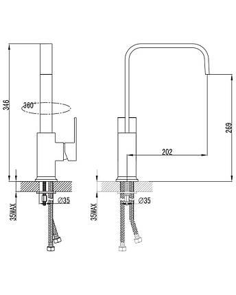 Imprese ELANTA смеситель для кухни, хром, 35мм, фото 2