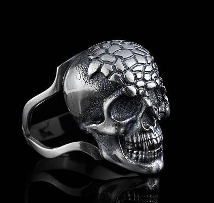 Байкерское серебряное кольцо Череп