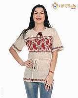 Женская рубашка вязаная Калина горизонтальная (короткий рукав)