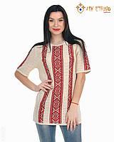 Женская рубашка вязаная Маринка светлая (короткий рукав), фото 1