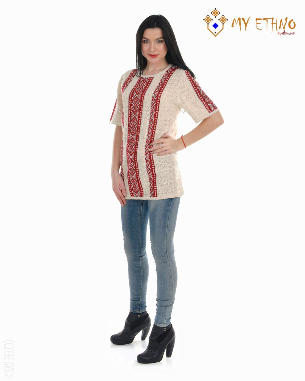 Женская рубашка вязаная Маринка светлая (короткий рукав)