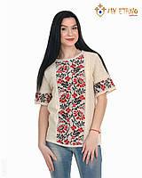 Женская рубашка вязаная Ромашка красная (короткий рукав), фото 1