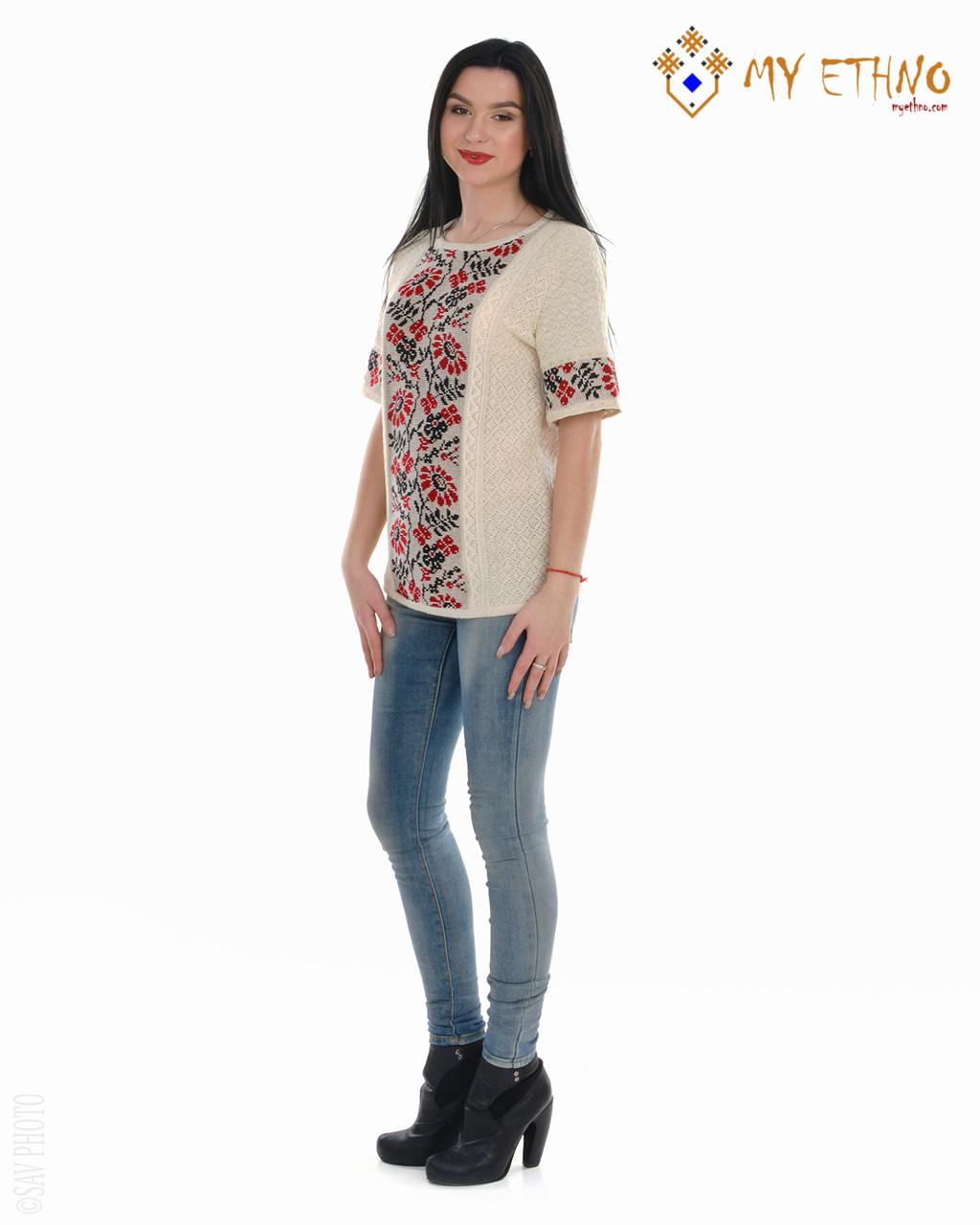 Женская рубашка вязаная Ромашка красная (короткий рукав)