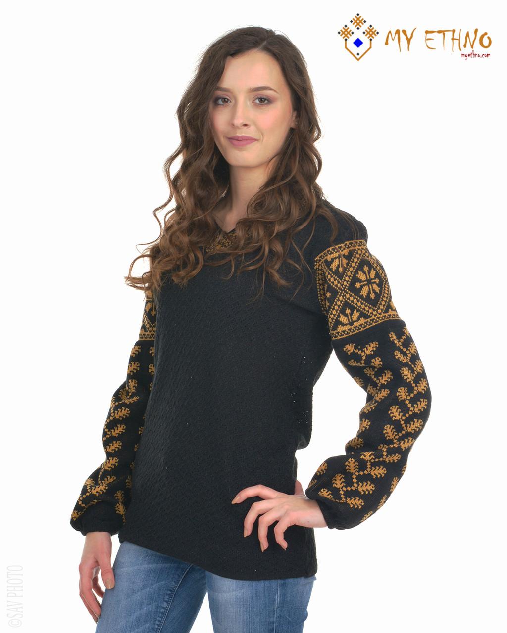 Женская рубашка вязаная Елка черная (х/б)