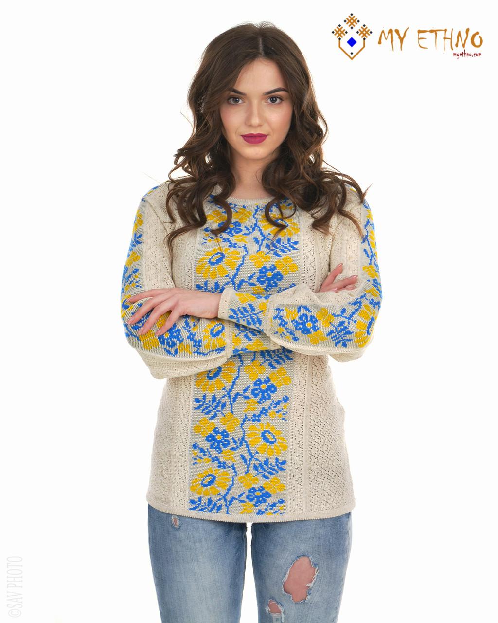 Женская рубашка вязаная Ромашка желто-голубая, фото 1