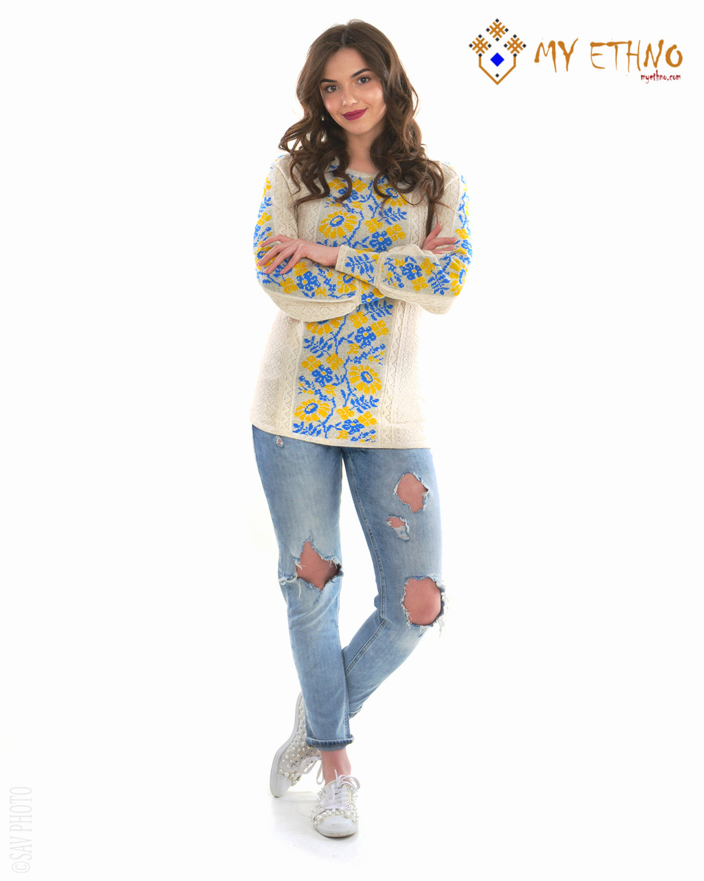 Женская рубашка вязаная Ромашка желто-голубая