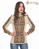 Женская рубашка вязаная Влада коричневая вертикальная, фото 1