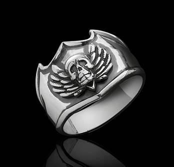 Серебряное кольцо с Черепом и Крыльями