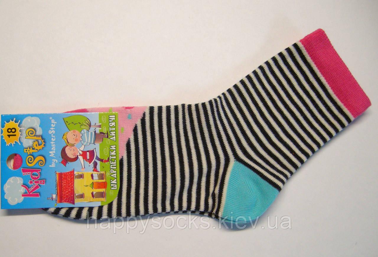 Высокие детские носки в черно-белую полоску с цветным пирожным